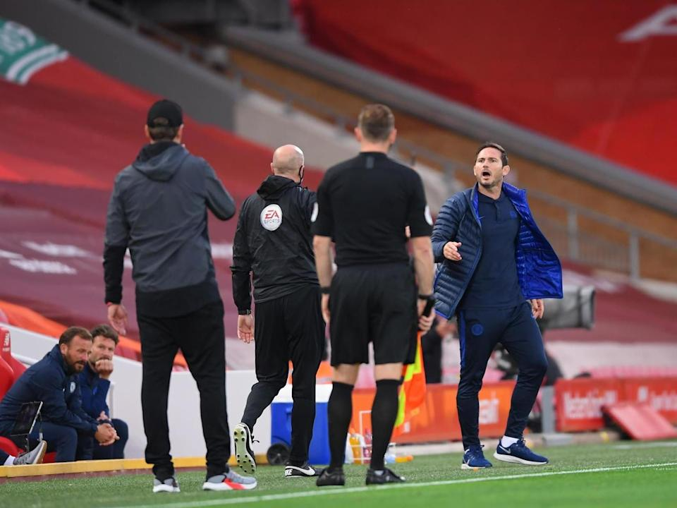 Lampard and Klopp go at it on the touchline: POOL/AFP