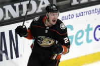 Anaheim Ducks left wing Nicolas Deslauriers celebrates his goal against the Minnesota Wild during the second period of an NHL hockey game in Anaheim, Calif., Wednesday, Jan. 20, 2021. (AP Photo/Alex Gallardo)