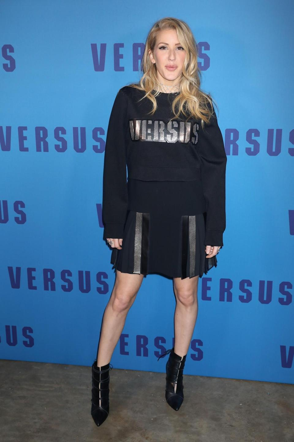 <p>Ellie Goulding opted for a black Versus knit. <i>[Photo: Getty]</i> </p>