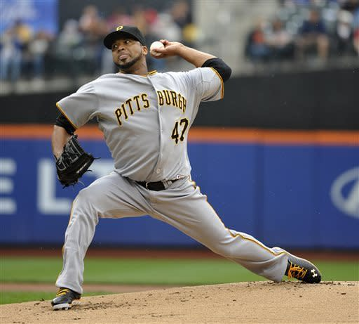 Pittsburgh Pirates starting pitcher Francisco Liriano throws against the New York Mets during the first inning of a baseball game at Citi Field on Saturday, May 11, 2013 in New York. (AP Photo/Kathy Kmonicek)