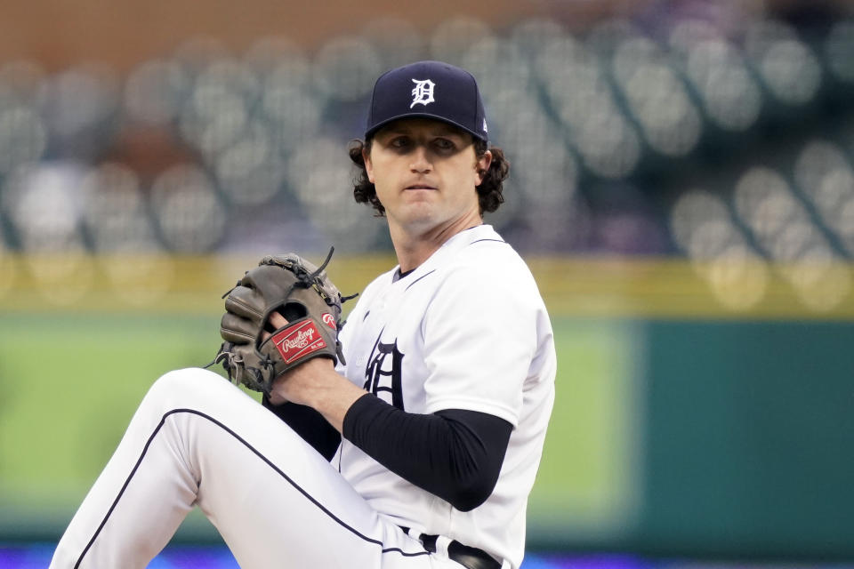 Detroit Tigers starting pitcher Casey Mize throws during the first inning of a baseball game against the New York Yankees, Friday, May 28, 2021, in Detroit. (AP Photo/Carlos Osorio)