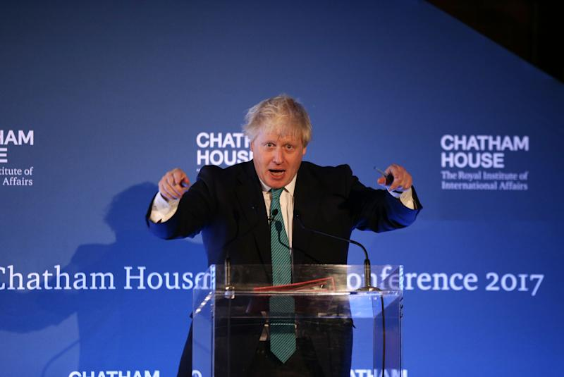 Boris Johnson speaking at the Chatham House conference today (Picture: PA)