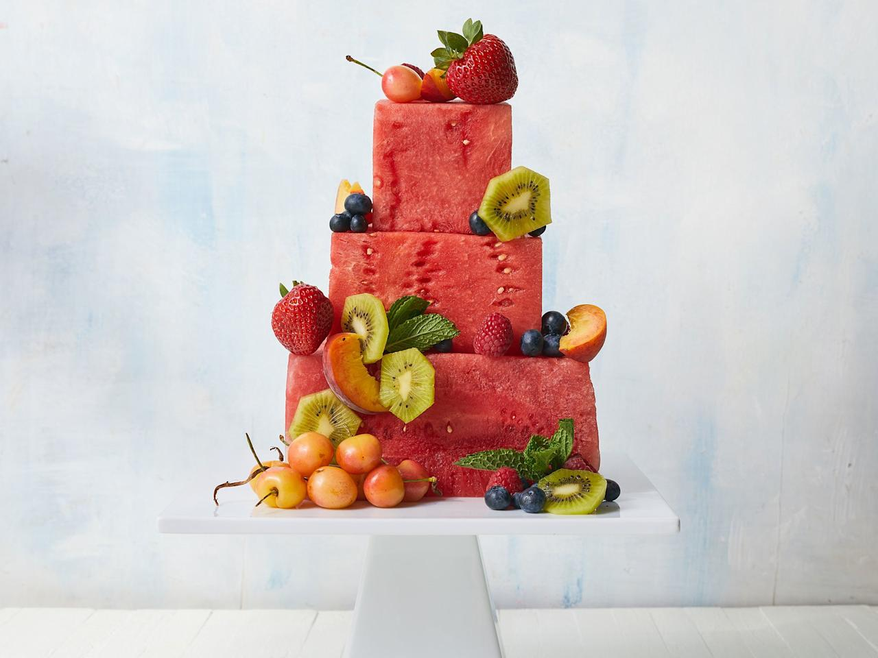 """<p>These towering tiers of summer-ripe fruit will make a stunning centerpiece for your next cookout, potluck, or shower. Use your favorite fruits to customize the design; simply secure firmly with wooden picks.</p> <p>Although it's tempting to try and make this ahead of time, don't make it any earlier than 4 hours before you plan to serve it; the cut watermelon will get too juicy. We've offered sample sizes for the tiers in the recipe below; feel free to use them as a guide and scale the tiers up or down depending on the size of your watermelons.</p> <p> <a href=""""https://www.cookinglight.com/recipes/watermelon-cake"""">View Recipe: Watermelon Cake</a></p>"""