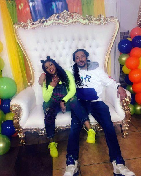 PHOTO: Chaunae berry pictured with Darnell Moore on a throne similar to the one featured in the introduction of 'The Fresh Prince of Bel-Air.' (Courtesy of Chaunae Berry)