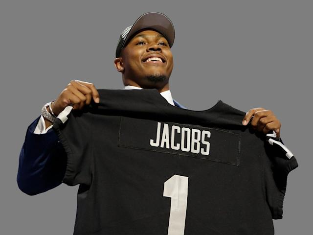 The Raiders used their second selection of the NFL draft on Alabama running back Josh Jacobs. (AP)