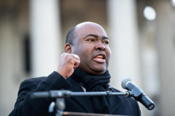 US Senate candidate Jaime Harrison speaks to the crowd during the King Day celebration at the Dome March and rally on January 20, 2020 in Columbia, South Carolina (Photo by Sean Rayford/Getty Images)