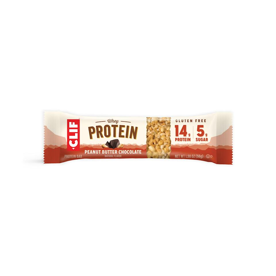 """<p><strong>Clif Bar</strong></p><p>walmart.com</p><p><a href=""""https://go.redirectingat.com?id=74968X1596630&url=https%3A%2F%2Fwww.walmart.com%2Fip%2F746352356&sref=https%3A%2F%2Fwww.goodhousekeeping.com%2Fhealth%2Fdiet-nutrition%2Fg26630133%2Flow-sugar-foods%2F"""" rel=""""nofollow noopener"""" target=""""_blank"""" data-ylk=""""slk:Shop Now"""" class=""""link rapid-noclick-resp"""">Shop Now</a></p><p>Get a protein boost (14 grams!) without a sugar crash — each of these bars has just 5 grams of sugar. It gets a creamy flavor from nut butter and protein from whey.</p>"""