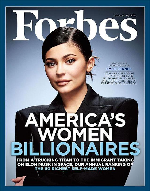 Kylie Jenner on the cover of <em>Forbes</em>. (Photo: Courtesy of Forbes)