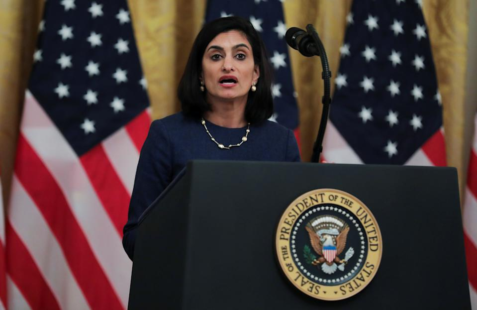 CMS Administrator Seema Verma speaks during an event about senior citizens and the coronavirus disease (COVID-19) pandemic in the East Room at the White House in Washington, U.S., April 30, 2020. REUTERS/Carlos Barria