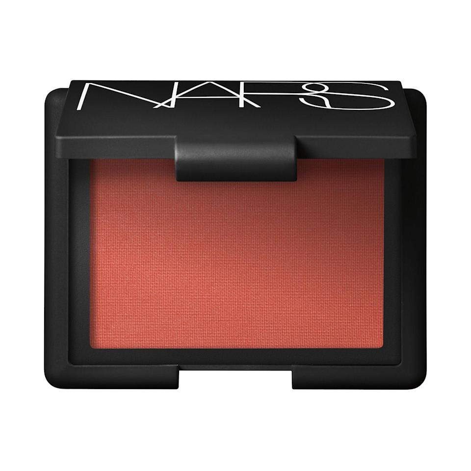 """<p><strong>Apricot</strong></p> <p>Martin opts for Nars Blush in Liberté in order to add warmth to the skin sans shimmer. He loves using the matte apricot shade on medium skin tones to """"sculpt the face and apply on the apples of the cheek to give a subtle dose of blush,"""" and notes that it'll also brighten up any leftover summer tan.</p> <p>Ciucci agrees with apricot on medium skin and recommends another Nars blush shade, Luster (which is a softer apricot). """"It's soft, flirty and fresh, and allows you to go bolder with the rest of the makeup,"""" she says. </p> <p><strong>$30</strong> (<a href=""""https://shop-links.co/1719399995600924275"""" rel=""""nofollow noopener"""" target=""""_blank"""" data-ylk=""""slk:Shop Now"""" class=""""link rapid-noclick-resp"""">Shop Now</a>)</p>"""
