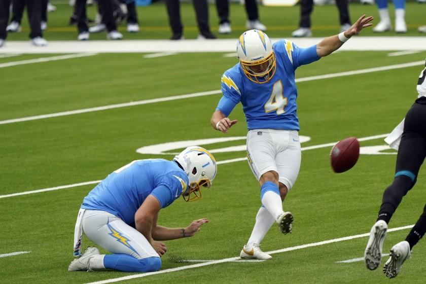 Los Angeles Chargers kicker Michael Badgley (4) makes a field goal against the Jacksonville Jaguars during the first half of an NFL football game Sunday, Oct. 25, 2020, in Inglewood, Calif. (AP Photo/Alex Gallardo )