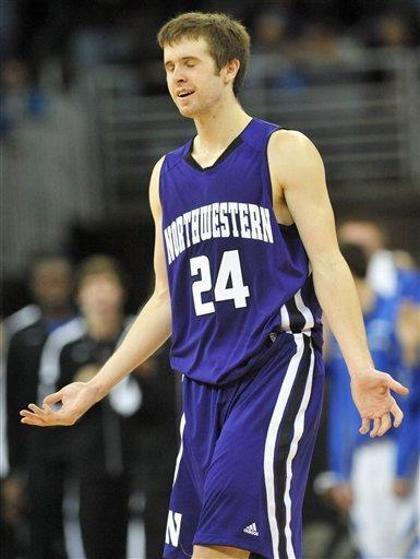 Northwestern's John Shurna (24) reacts to a call during their NCAA basketball game against Creighton, Thursday, Dec. 22, 2011, in Omaha, Neb. (AP Photo/Dave Weaver)