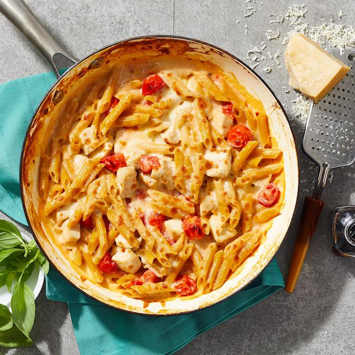 """<p>All the flavors of a caprese salad—mozzarella, tomatoes and basil—are featured in this one-skillet dinner. The addition of chicken and pasta adds depth and heartiness to this tasty meal. This recipe was adapted from our popular <a href=""""https://www.eatingwell.com/recipe/7901168/skillet-caprese-chicken-casserole/"""" rel=""""nofollow noopener"""" target=""""_blank"""" data-ylk=""""slk:Skillet Caprese Chicken Casserole"""" class=""""link rapid-noclick-resp"""">Skillet Caprese Chicken Casserole</a> to serve two instead of six. <a href=""""https://www.eatingwell.com/recipe/7918948/skillet-caprese-chicken-casserole-for-two/"""" rel=""""nofollow noopener"""" target=""""_blank"""" data-ylk=""""slk:View Recipe"""" class=""""link rapid-noclick-resp"""">View Recipe</a></p>"""