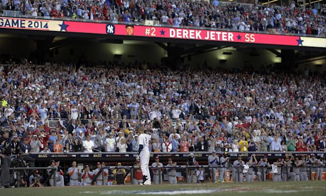 American League shortstop Derek Jeter, of the New York Yankees, steps to the plate during the first inning of the MLB All-Star baseball game, Tuesday, July 15, 2014, in Minneapolis. (AP Photo/Jeff Roberson)