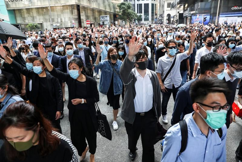 FILE PHOTO: Anti-government demonstrators gather to protest in Central, Hong Kong