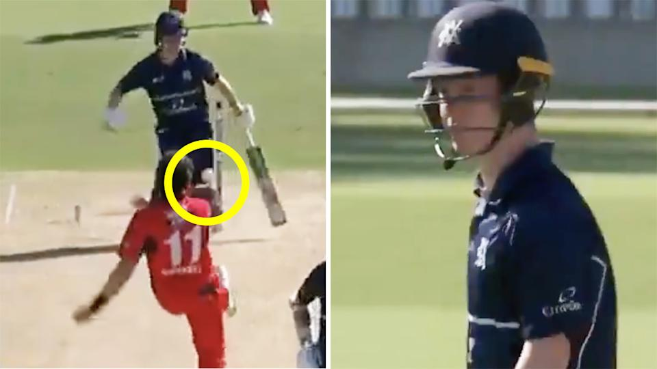 Victoria's Sam Harper was given out for obstructing the field after stepping in front of a shy at the stumps from SA bowler Daniel Worrall. Pictures: Cricket Network