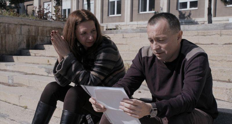 "Journalists Mirela Neag (L) and Catalin Tolontan are seen in a still from the documentary ""Collective"""