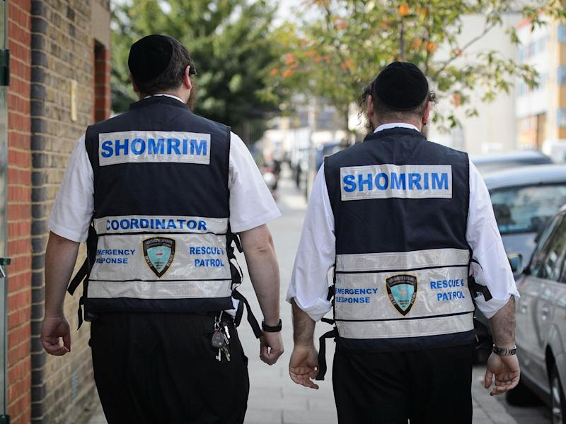 Members of the Jewish 'Shomrim' security patrol team are pictured in north London: Getty