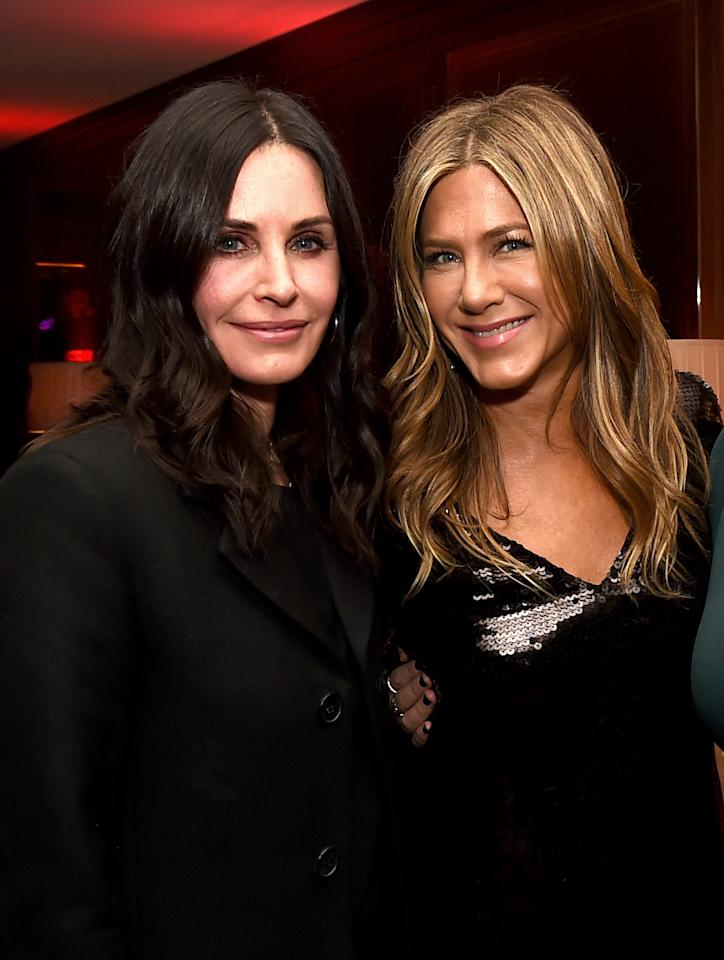 <p>Courteney supported Jennifer at the latter's new Netflix film premiere in LA. For the occasion, both women wore black; Jennifer a signature LBD and Courteney a trouser and jacket combo. <em>[Photo: Getty]</em> </p>