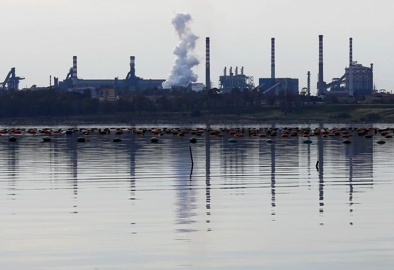 FILE PHOTO: The ILVA steel plant is seen in Taranto