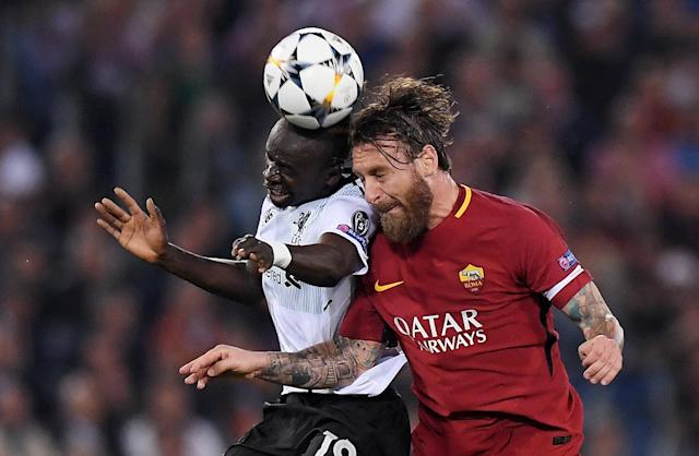 Soccer Football - Champions League Semi Final Second Leg - AS Roma v Liverpool - Stadio Olimpico, Rome, Italy - May 2, 2018 Liverpool's Sadio Mane in action with Roma's Daniele De Rossi REUTERS/Alberto Lingria
