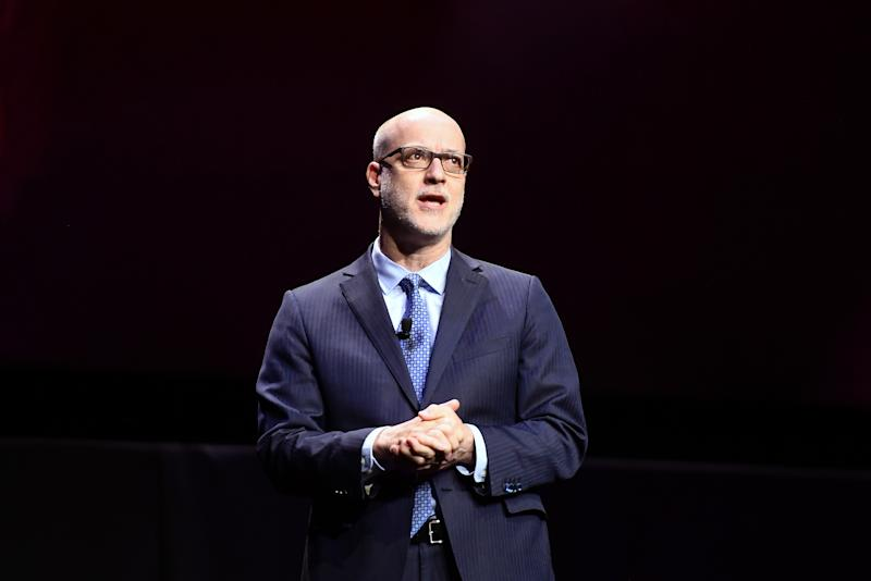 LAS VEGAS, NV - APRIL 02: Nato President & CEO John Fithian speaks onstage at CinemaCon 2019 The State of the Industry and STXfilms Presentation at The Colosseum at Caesars Palace during CinemaCon, the official convention of the National Association of Theatre Owners, on April 2, 2019 in Las Vegas, Nevada. (Photo by Matt Winkelmeyer/Getty Images for CinemaCon)