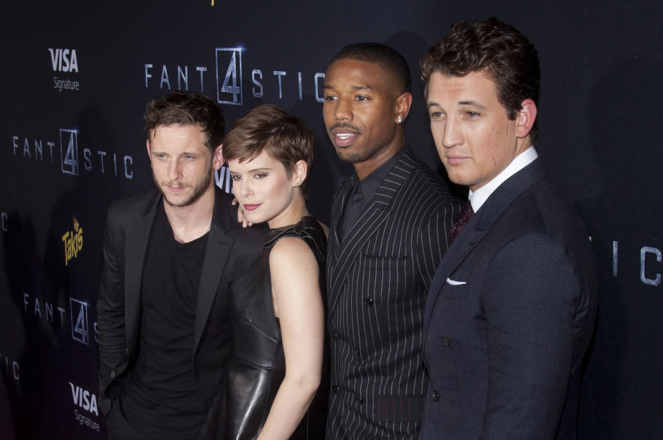 "Jamie Bell, Kate Mara, Michael B. Jordan and Miles Teller attend the ""Fantastic Four"" premiere in 2015. (Photo by Lars Niki/Corbis via Getty Images)"