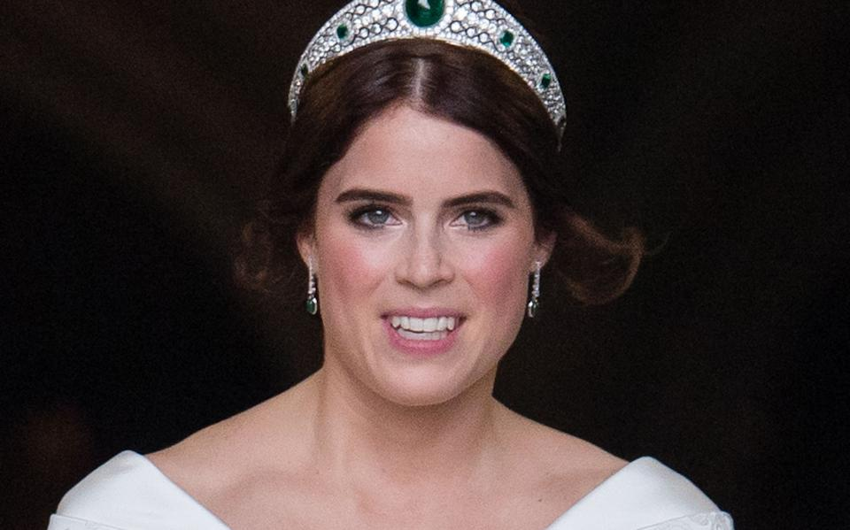 WINDSOR, ENGLAND - OCTOBER 12:  Princess Eugenie of York  leave St George's Chapel after getting married to Jack Brooksbank in Windsor Castle following their wedding at St. George's Chapel on October 12, 2018 in Windsor, England.  (Photo by Pool/Samir Hussein/WireImage)