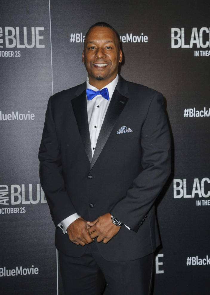 """Deon Taylor attends the special screening of """"Black and Blue"""", hosted by Screen Gems and The Cinema Society, at the Regal E-Walk on Monday, Oct. 21, 2019, in New York. (Photo by Christopher Smith/Invision/AP)"""