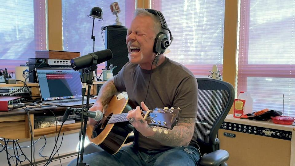 James Hetfield of Metallica performing during the virtual VetsAid 2020 benefit last month.