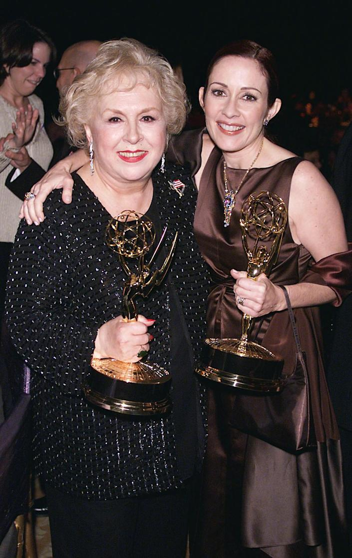 <p><em>Everybody Loves Raymond</em> stars Doris Roberts and Patricia Heaton celebrated their outstanding supporting actress in a comedy series and outstanding lead actress in a comedy series wins together. </p>