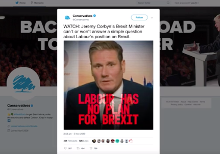 The Twitter video shared by the official Conservative Party twitter account