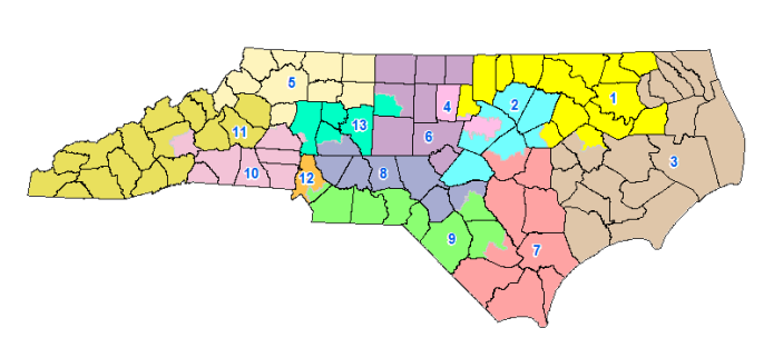 A federal court declared that North Carolina's congressional map unfairly favors Republican voters' preferences. (Map via ncleg.net)