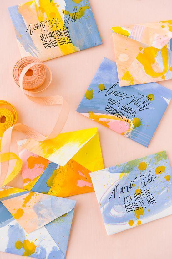 """<p>These envelopes are so pretty, there's no way they ever see the inside of a trash can.</p><p><strong>Get the tutorial at <a href=""""https://www.papernstitchblog.com/painted-diy-envelopes/"""" rel=""""nofollow noopener"""" target=""""_blank"""" data-ylk=""""slk:Paper and Stitch"""" class=""""link rapid-noclick-resp"""">Paper and Stitch</a>.</strong> </p>"""