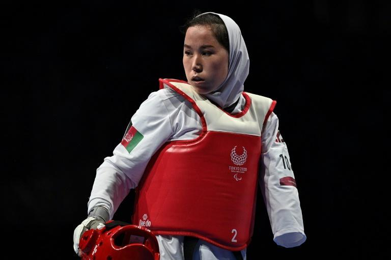 Afghanistan's Zakia Khudadadi was one of two Afghanistan team members evacuated from the Taliban-controlled country (AFP/Philip FONG)