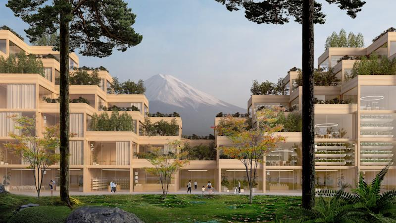 The buildings will be constructed using traditional Japanese techniques of all-wood architecture. Many of the structures will have views of Mount Fuji in the distance.