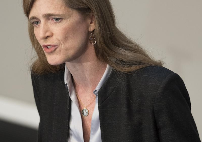 """US Ambassador Samantha Power, pictured on June 29, 2016, called for """"strong and swift action"""" by the Security Council to follow up on the findings that Bashar al-Assad forces and Islamic State jihadists carried out separate chemical attacks (AFP Photo/Saul Loeb)"""