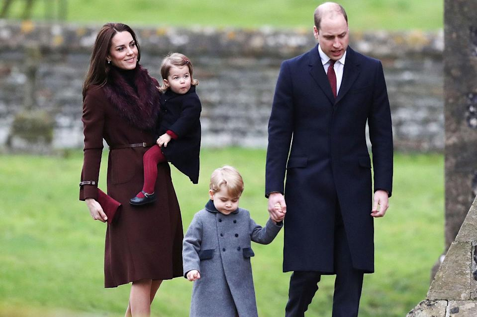 <p>The family walks to church on Christmas Day in 2016.</p>