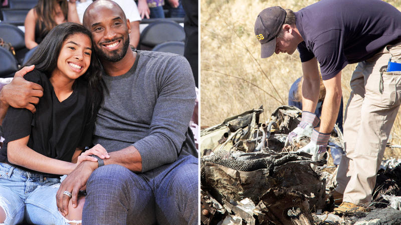 Kobe and Gianna Bryant, pictured here before they were killed in a helicopter crash.