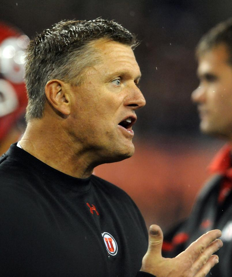 CORVALLIS, OR - OCTOBER 20: Head coach Kyle Whittingham of the Utah Utes reacts to an officials call in the fourth quarter of the game against the Oregon State Beavers on October 20, 2012 at Reser Stadium in Corvallis, Oregon. The Beavers won the game 21-7. (Photo by Steve Dykes/Getty Images)