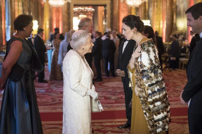 LONDON, ENGLAND - APRIL 19: Queen Elizabeth II greets Jacinda Ardern, Prime Minister of New Zealand in the Blue Drawing Room at The Queen's Dinner during the Commonwealth Heads of Government Meeting (CHOGM) at Buckingham Palace on April 19, 2018 in London, England. (Photo by Victoria Jones - WPA Pool/Getty Images)