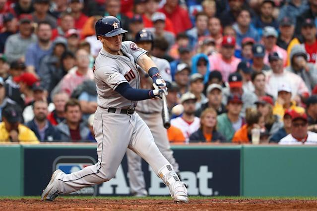 Alex Bregman of the Houston Astros hits a solo home run in the eighth inning against the Boston Red Sox on October 9, 2017 (AFP Photo/Maddie Meyer)