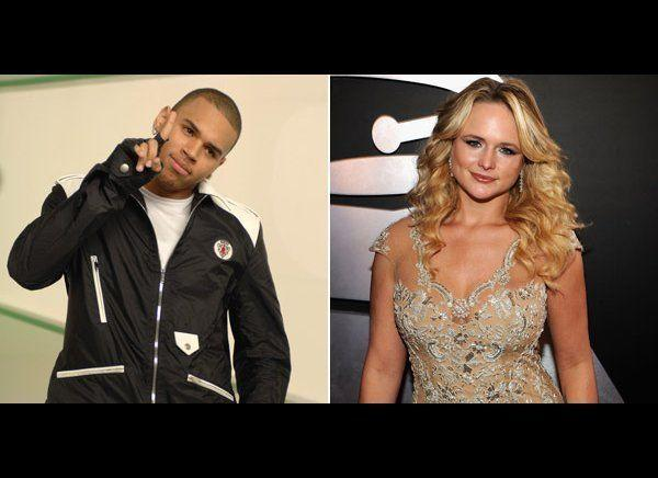"Miranda Lambert was not happy to see Chris Brown performing at the Grammy Awards. ""And Chris Brown Twice? I don't get it. He beat on a girl...Not cool that we act like that didn't happen,"" she tweeted referencing Brown's brutal 2009 assault on Rihanna. Brown responded indirectly by tweeting, ""Hate all you want because I got a grammy now! That's the ultimate f*** off."" Then at her concert, Lambert held up a handwritten poster that read, ""Take notes Chris Brown"" and said to the audience, ""Listen, I just need to speak my mind. Where I come from, beating up on a women is never OK. So that's why my daddy taught me early on in life how to use a shotgun."" Brown fired back in a series of tweets: ""Using my name to get publicity? I love it! Perform your heart out! Go buy @miranda_lambert! So motivational and ""PERFECT."" Goodnight to all the people who live life and who aren't stuck in the past!"""
