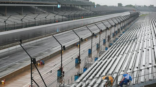 Rain has plagued Indianapolis Motor Speedway all weekend. (Getty)
