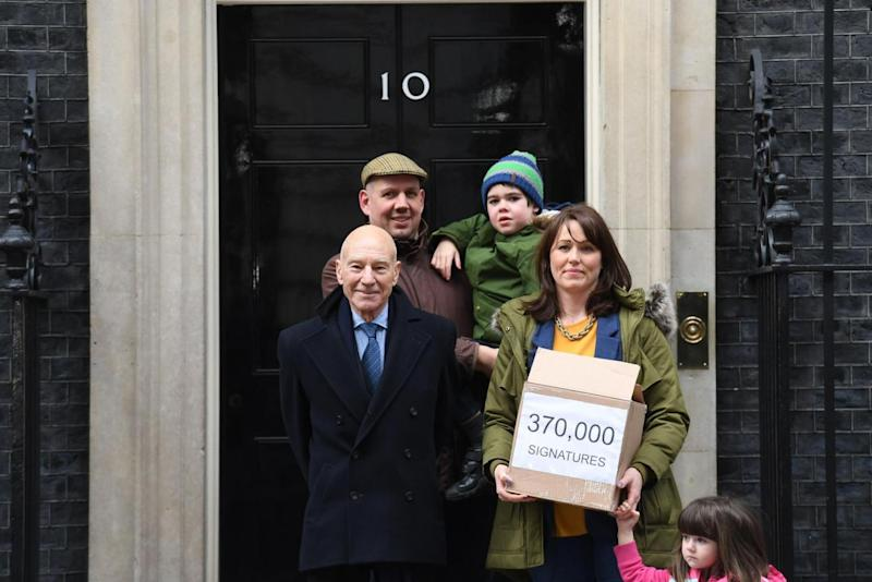 Alfie Dingley with sister Annie, parents Drew and Hannah, and Sir Patrick outside Downing Street (PA)