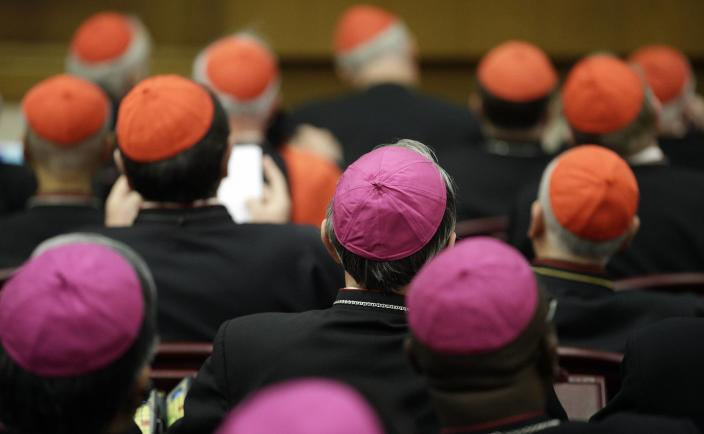 Bishops and cardinals attend a synod of bishops lead by Pope Francis in Paul VI's hall at the Vatican October 6, 2014. Pope Francis on Monday opened the Roman Catholic assembly that will discuss marriage, gay couples, birth control and other moral issues, telling his bishops to speak frankly and not be afraid of upsetting him. REUTERS/Max Rossi (VATICAN - Tags: RELIGION)