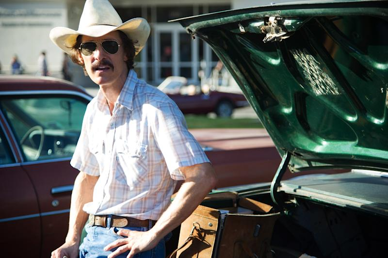 "This image released by Focus Features shows Matthew McConaughey as Ron Woodroof in a scene from the film, ""Dallas Buyers Club."" A few years ago, Matthew McConaughey's career had bottomed out in rom-com mediocrity. He resolved to alter his path, and the rebirth that followed _ the so-called McConaissance _ reaches an apogee with his Oscar nomination for his performance in ""Dallas Buyers Club."" (AP Photo/Focus Features, Anne Marie Fox)"