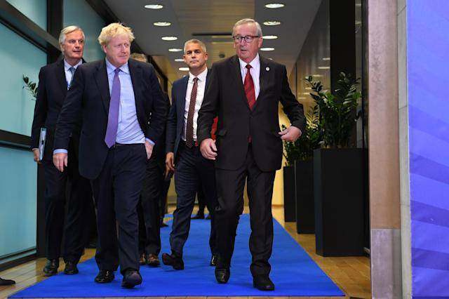 Boris Johnson with Michel Barnier during previous Brexit negotiations. (Stefan Rousseau/PA via Getty Images)