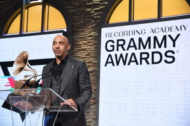 Harvey Mason Jr. speaks at the 62nd Grammy Awards Nominations Nov. 20, 2019 in New York City. Mason later assumed the role of interim chief after President and CEO Deborah Dugan was ousted in January 2020.
