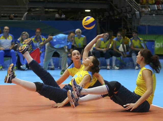 2016 Rio Paralympics - Sitting Volleyball - Women's Bronze Match - Riocentro Pavilion 6 - Rio de Janeiro, Brazil, 17/09/2016. Valentyna Brik (UKR) of Ukraine in action. REUTERS/Pilar Olivares FOR EDITORIAL USE ONLY. NOT FOR SALE FOR MARKETING OR ADVERTISING CAMPAIGNS.